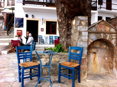 Plantanos Jazz Bar on Skopelos Greece which featured in the opening chapters.