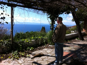 Andy on the terrace in Old Klima. Greece