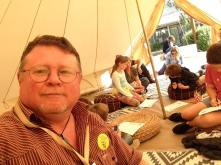 In the storytelling tent with the kids and parents.