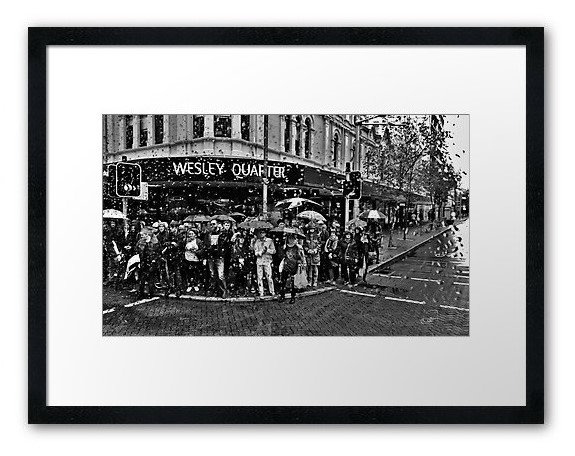 Protest in the rain sample framed print